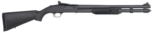 "Mossberg Model 590 SP Tri-Rail Shotgun 50670, 12 Gauge, 20"" BBL, 3"" Chmbr, Pump, Syn Stock, Matte Blue Finish, Ghost Ring Sight, 9 Rds"