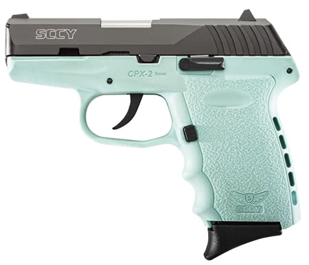 "SCCY CPX-2 Carbon SCCY Blue Pistol CPX2CBSB, 9mm, 3.1"" BBL, Double Act, SCCY Blue Poly Grips, 3-Dot Adj Sights, Black/SCCY Blue Finish, 10 Rds"