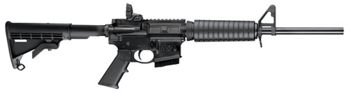 "Smith and Wesson M&P 15 Sport II Rifle 10203, 5.56 NATO, 16"" BBL, Semi-Auto, Fixed Stock, Adj A2 Post/Magpul MBUS Rear Sights, Black Finish, 10+1 Rds, MA Compliant Model"