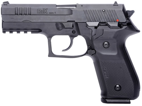 "FIME AREX Rex Zero 1S Pistol REXZERO1S-01, 9mm, 4.3"" BBL, Sing/Dbl Act, Poly Grips, Fixed Sights, Black Finish, 17 Rds"
