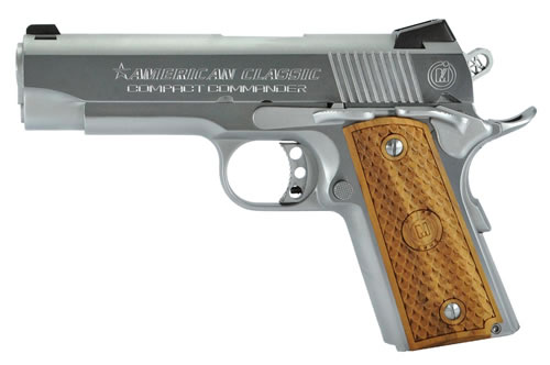 American Classic Compact Commander Pistol ACCC45C, 45 ACP, 4.3 in BBL, Single Act, Hardwood Grips, Dovetail Front, Novak Rear Sights, Hard Chrome Finish, 7+1 Rds