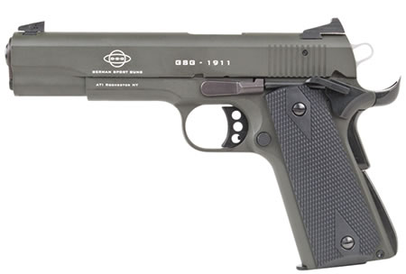 "GSG 2210M1911G M1911G Pistol, 22 LR, 5"" BBL, Single Act, Walnut Grips, Fixed Sights, Olive Drab Finish, 10+1 Rds"
