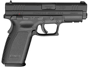 "Springfield XD9661 XD Pistol, 45 ACP, 4"" BBL, Single Act, Black Polymer Grips, 3-Dot White Sights, Melonite Finish Finish, 13+1 Rds, Essential"