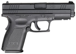 "Springfield XD9645 XD Pistol, 45 ACP, 4"" BBL, Single Act, Black Polymer Grips, 3-Dot White Sights, Black Polymer Finish, 10+1Rds, CA Approved, Essential"
