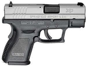 "Springfield XD9821 XD Bi-Tone Pistol, 9mm, 3"" BBL, Single Act, Black Polymer Grips, 3-Dot White Sights, Black Polymer Finish, 13+1/16+1 (Grip Ext), CA Approved, Essential"