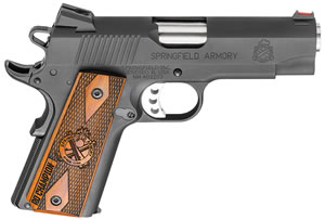 "Springfield PI9137LP 1911 Range Officer Pistol, 9mm, 4"" BBL, Single Act, Rosewood Grips, Fib Opt Front, Low Prof Combat Rear Sights, Black Finish, 8+1 Rds"