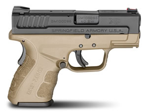 "Springfield XD Mod.2 Sub-Compact Pistol XDG9802FDEHC, 40 S&W, 3"" BBL, Dbl Act, Poly Grips,Fib Opt Front, Lo-Profile Rear Sights, FDE/Black Finish, 9+1/12+1 (Grip Ext) Rds"