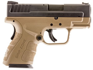 "Springfield XD Mod.2 Sub-Compact Pistol XDG9802FDE, 40 S&W, 3"" BBL, Dbl Act, Poly Grips, Fib Opt Front, Lo-Profile Rear Sights, FDE/Black Finish, 10+1 Rds"