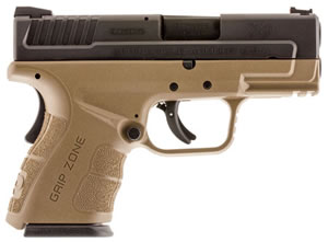 "Springfield XD Mod.2 Sub-Compact Pistol XDG9845FDEHC, 45 ACP, 3.3"" BBL, Dbl Act, Poly Grips, Fib Opt Front, Lo-Profile Rear Sights, FDE/Black Finish, 9+1/13+1 (Grip Ext Rds"