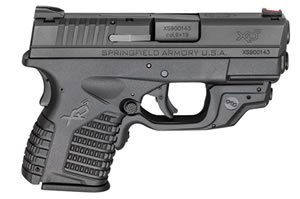 "Springfield XDS w/Crimson Trace Laserguard Pistol XDS9339BECT, 9mm, 3.3"" BBL, Dbl Act, Poly Grips, Fib Opt Front, Dovetail Rear Sights, Black Finish, 7+1/8+1 (Grip Ext) Rds"