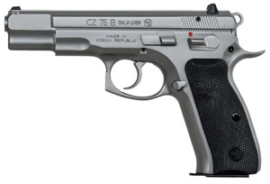 "CZ Model 75 B Matte Stainless Pistol 91128, 9mm, 4.6"" BBL, Double/Single, Rubber Grips, Fixed 3-Dot Sights, Matte Stainless Finish, 16+1 Rds"