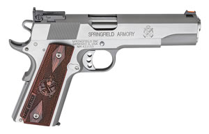 "Springfield Range Officer Pistol PI9124LP, 45 ACP, 5"" Match Grade BBL, Single Act, Cocobolo Grips, Adj Target Sights, Stainless Finish, 7+1 Rds"