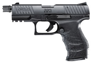 "Walther PPQ 22 Tactical Pistol 5100301, 22 LR, 4.6"" Threaded BBL, Single, Black Polymer Grips, Fixed Front, Adj Rear Sights, Black Finish, 12+1 Rds"