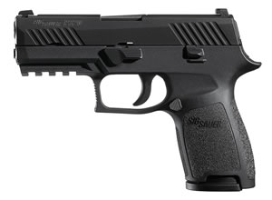 "Sig Sauer 320C45B P320 Compact Pistol, 45 ACP, 3.9"" BBL, Double Act, Integral Grips, Contrast Sights, Black Finish, 9+1 Rds"