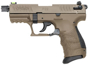 "Walther 5120353 P22 Pistol, 22 LR, 3.4"" BBL, Single/Double Act, Flat Dark Earth Polymer Grips, 3-Dot Adj Low Profile Sights, Flat Dark Earth Finish, 10+1 Rds, w/Adptr"
