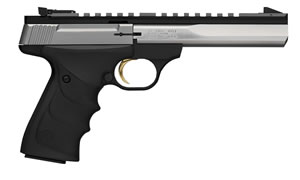 "Browning 051507490 Buck Mark Contour Stainless Pistol, 22 LR, 5.5"" BBL, Single Act, Ultragrip RX Ambi Grips, Fixed Front, Adj Rear Sights, Black Finish, 10+1 Rds"