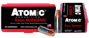 Atomic 00438 Subsonic 9mm Luger 147 GR SubSonic 50 Bx/ 10 Cs