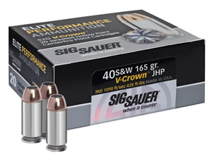 Sig Sauer E40SW150 V-Crown 40 Smith & Wesson 165 GR Jacketed Hollow Point 20 Bx/ 50 Cs
