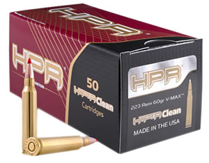 HPR Ammunition 223060VMX 223 Remington/5.56 NATO 60 GR V-Max 50 Bx/ 20 Cs