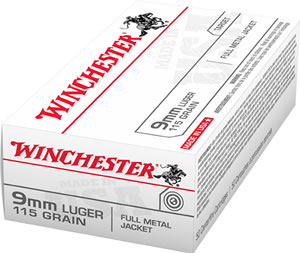 Winchester Ammo Q4172B Best Value 9mm Luger 115 GR Full Metal Jacket 50 Bx/ 10 Cs