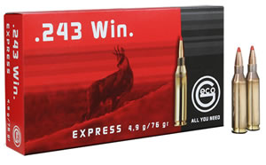 GECO 283440020 .243 Winchester 76 GR Express Tip 20 Box/10 Case