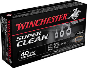 Winchester Ammo W40SWLF Super Clean 40 Smith & Wesson 120 GR Full Metal Jacket 50 Bx/ 10 Cs