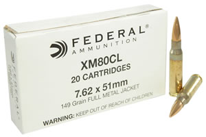 Federal XM80CL XM 308 Winchester/7.62 NATO 149 GR Full Metal Jacket 20 Bx/ 25 Cs