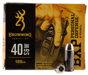 Browning Ammo B191700401 BXP X-Point 40 Smith & Wesson 180 GR Hollow Point 20 Bx/ 10 Cs