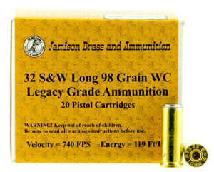 Jamison 32SWL98LEG Legacy Grade 32 Smith & Wesson Long 98 GR Wadcutter 20 Bx/ 10 Cs