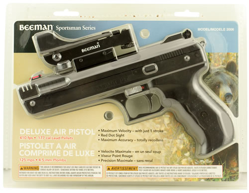 Beeman 2006 P17 Deluxe Air Pistol with Red Dot Scope .177 Pellet Post Front/Adj Rear Syn Grip/Frame Black