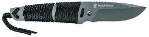 "S&W Knives SW910TAM Tanto Fixed 2.8"" 7Cr17MoV SS with Paracord Blk"