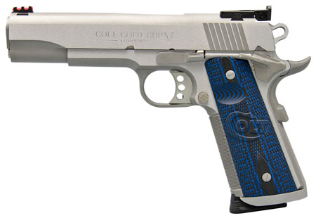 Colt Gold Cup Trophy Pistol O5072XE, 9mm, 5 in, Stainless, Blue Grips, 9+1