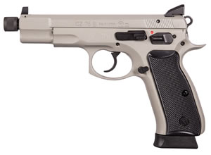 "CZ Model 75 B Omega Pistol 91235, 9mm, 4.7"" Threaded BBL, Double/Single, Rubber Grips, High Night Sights, Urban Grey Finish, Swappable Safety/Decoker, 16+1 Rds"