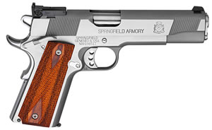 Springfield Service Target Pistol PI9134LPCA, 9 MM, 5 in BBL, Sngl / Dbl, Coco Wood Grips, Adj target Sights, Stainless Finish, 9 + 1 Rds, CA Compliant