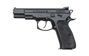 "CZ Model 75 B Convertible Omega Pistol 91136, 9mm, 4.7"" BBL, Double/Single, Plastic Grips, Fixed 3-Dot Sights, Black Finish, Swappable Safety/Decoker, 16+1 Rds"