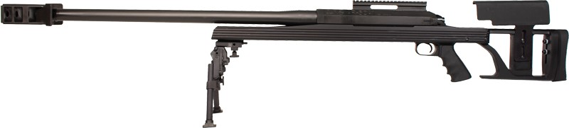 Armalite Model AR-50A1 Sniper Rifle 50A1BGGG, 50 BMG, Bolt Action, 30 in, Black, Three Section Stock, Black Finish, 1 Rd