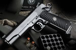 Wilson Combat X-TAC Pistol XTC-FS-45, .45 ACP, 5 in Stainless Match Grd BBL, Blk Starburst Grips, Black, 8 Rds