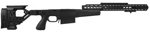 Accuracy International AX AICS Chassis System 26714BL for Remington 700 L/A .338 Lapua, Folding Stock, Adj Cheek Piece, Black Finish, 5Rd