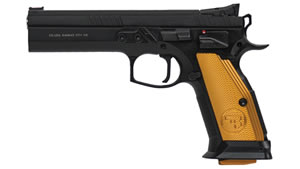 "CZ Model 75 Tactical Sport Orange Pistol 91260, 40 S&W, 5.4"" BBL, Single Act, Orange Grips, Adj Sights, Black Finish, 16+1 Rds"