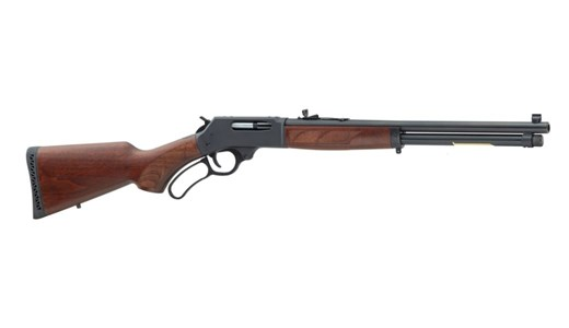 Henry Lever Action Rifle H010, 45-70 Gvt, 18.5 in Round BBL, Pistol Grip Walnut Stock, Blue Finish, Adj Rear/Bead Front Sight, 4 Rds