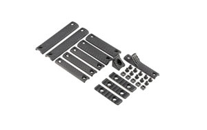 Knights Armament Company URX 3/3.1 12 Piece Rail Panel Kit, Black Finish, 1 1-Hole Handstop, 3 2-Hole Panels, 2 2-Hole Panels, 2 3-Hole Panels, 1 2-Hole handstop, 3 2-Hole Picatinny Rail Sections, 10