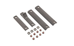 Knights Armament Company URX 3/3.1 4 Piece Long Rail Panel Kit, Black Finish, 2 3-Hole Panels, 1 2-Hole Panel, 1 2-Hole Handstop, 8 Screws, 4 Backing Nuts 30410-BLK