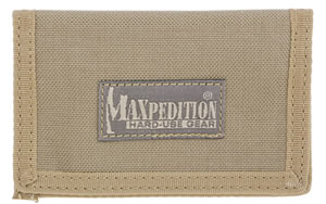 "Maxpedition MICRO Wallet, Soft, 4.5""x3"", ID Window, 2 Internal Card Compartment, 1 External Slip Compartment,  Khaki Finish 0218K"