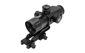 Leapers - UTG AccuShot, Compact Prismatic Rifle Scope, 4X32 T4, 36-Color Circle Dot, TS Platform, EZ-TAP IE Illumination, Black Finish, 34MM, Mounting Accessories Included SCP-T4IECDQ