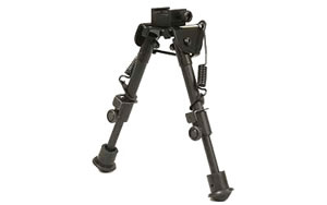 "Leapers - UTG Tactical Op Bipod, Fits Picatinny Rail or Swivel Stud, 6.1"" - 7.9"", SWAT/ Combat Profile with Adjustable Height, Black TL-BP78"