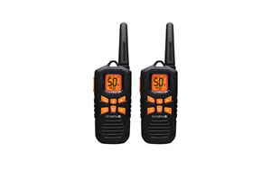 OLYMPIA R-Series Two Way Radio, 42 Mile Radio, 50 channels, NOAA Weather, Micro-USB Charging, IP67 Waterproof, Floats, Flashlight, Black/Orange R500